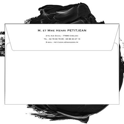 Enveloppe blanche format 114 x 162 personnalisée pour carte de deuil