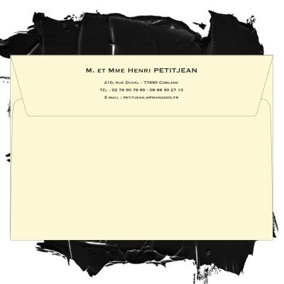Enveloppe ivoire format 114 x 162 personnalisée pour particulier