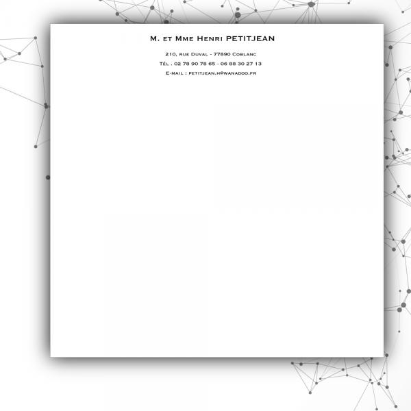 Papier à lettre personnel sur papier blanc format carré