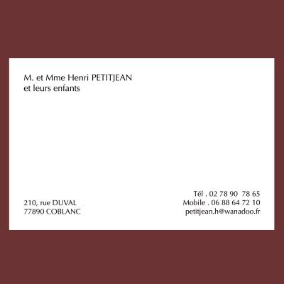 Carte de visite personnelle classique grand format (82 x 128 mm)