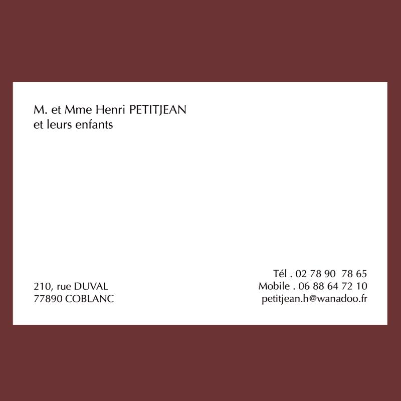 Carte De Visite Personnelle Classique Grand Format 82 X 128 Mm