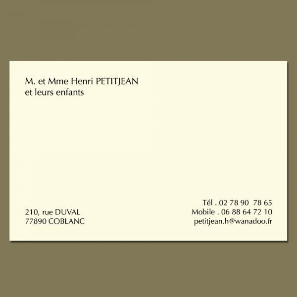 Carte de visite grand format sur papier ivoire