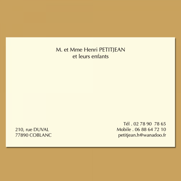 Grande carte de visite familiale format 82 x 128 mm