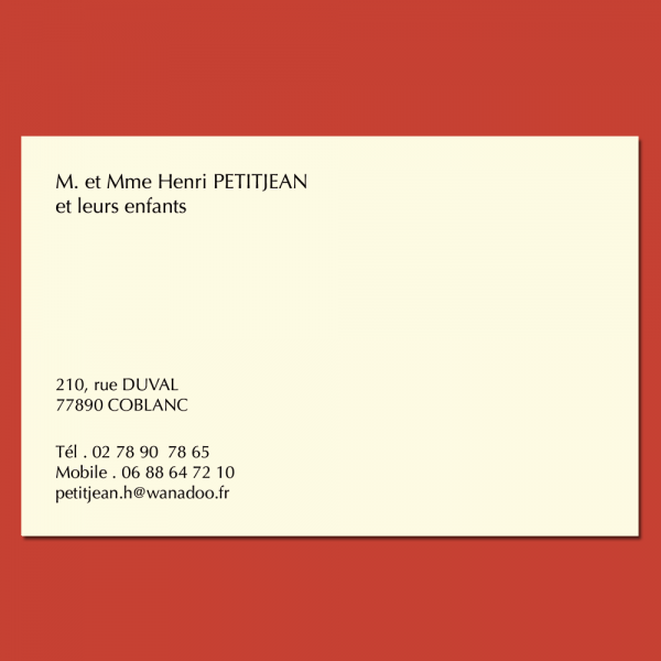 Carte de visite privée classique 12 x 8 cm