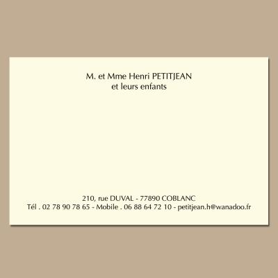 Carte de réponse format 83 x 128 mm