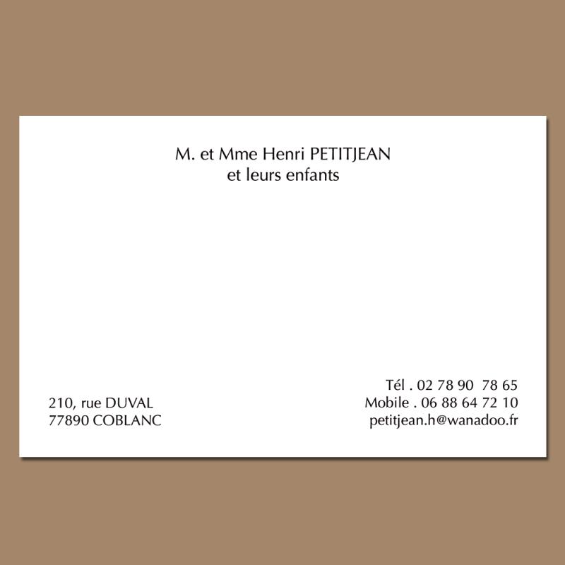 Carte De Visite Pour Particulier Format Traditionnel Modle Personnelle Gratuite