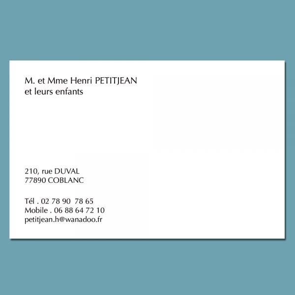 Carte De Visite Familiale Avec Enveloppes