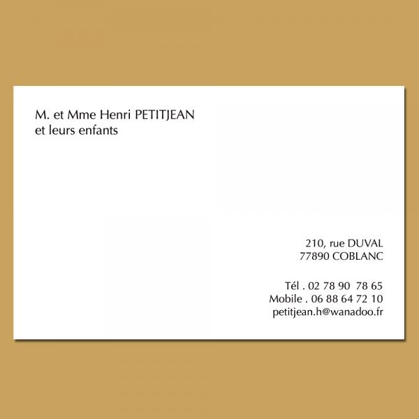 Carte de correspondance pour particulier format 82 x 128 mm