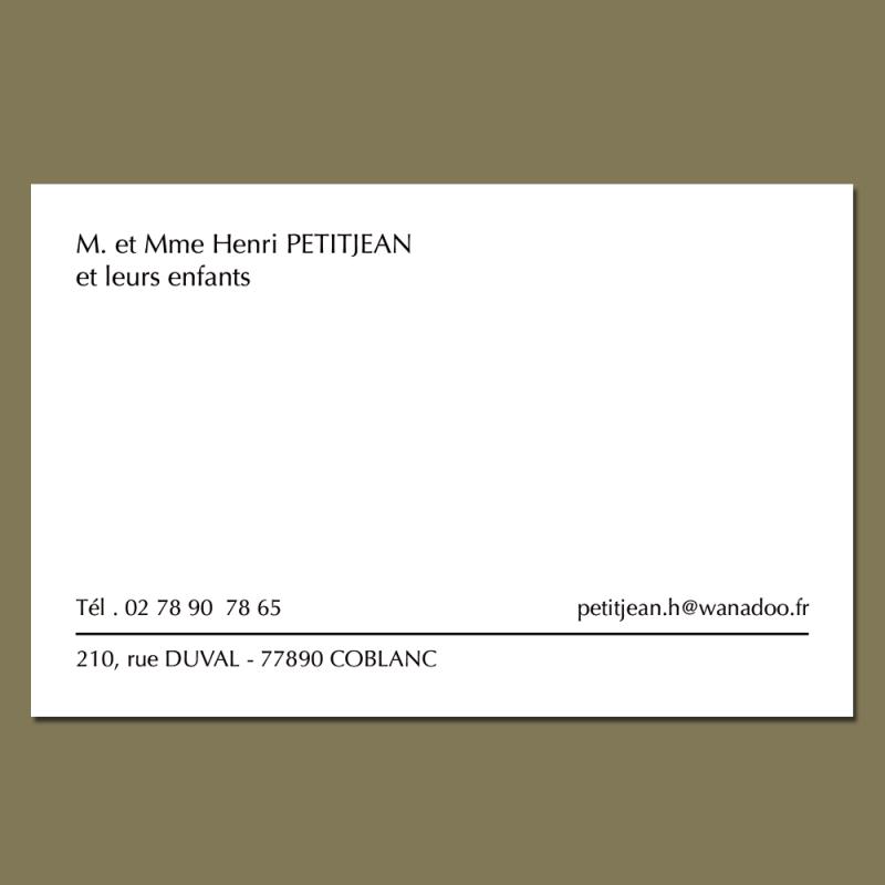 Cartes De Visite Grand Format Avec Enveloppes Assorties