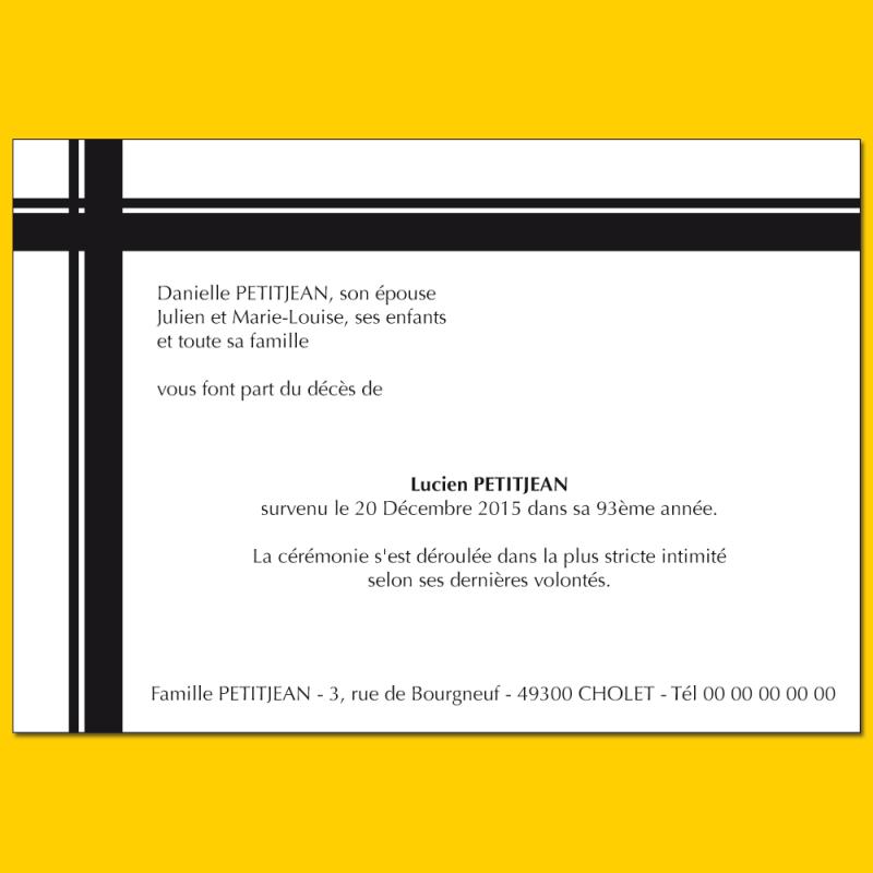 Faire Part De Deuil Noir Et Blanc Format 105 X 150