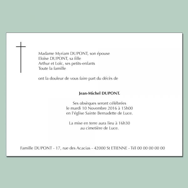 Faire part de décès avec croix catholique noir et blanc
