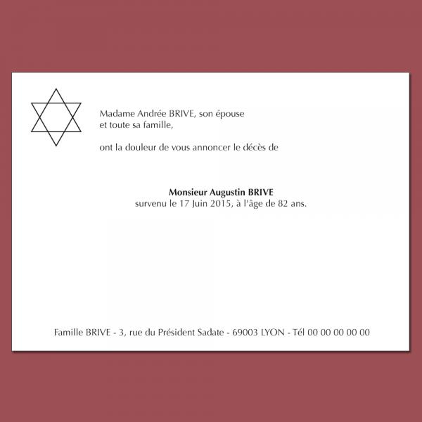 Faire part deuil thème religion juive