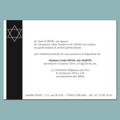 Carte d'annonce deuil format 105 x 150 thème religion