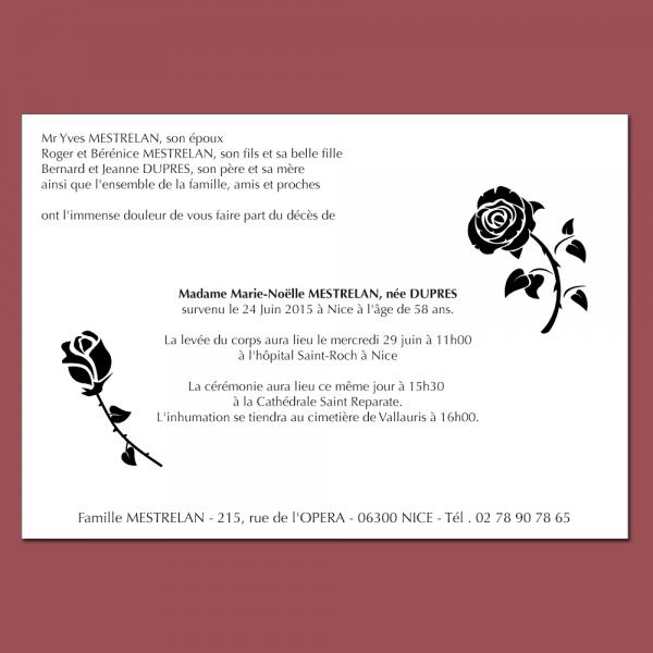 Faire part deuil illustré avec des roses - enveloppes assorties