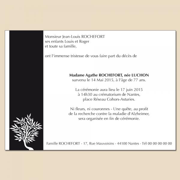 Carte d'annonce d'un décès avec impression d'une branche d'olivier