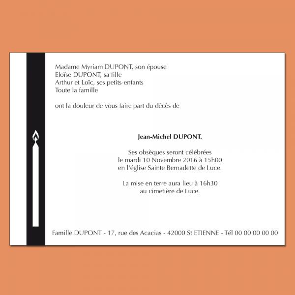 Faire part deuil illustré avec un cierge au format 105  x 150 mm