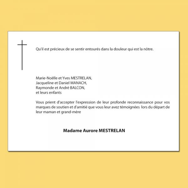 Carte de décès avec signe religieux catholique noir et blanc