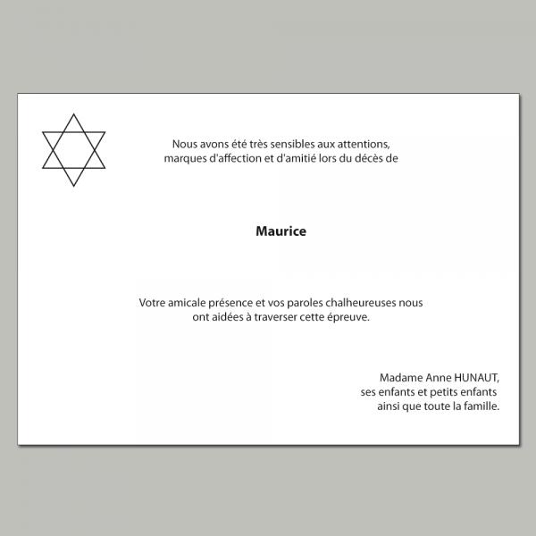 Carte de remerciement décès thème religion juive