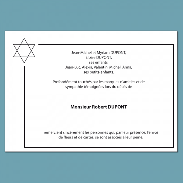 Carte de condoléances personnalisé et symbole juif