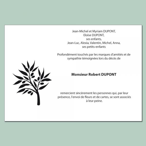Carte de remerciements deuil avec rameau d'olivier stylisé