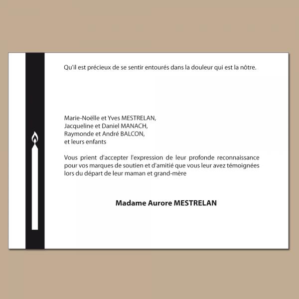 Carte de deuil illustrée avec un cierge au format 105  x 150 mm