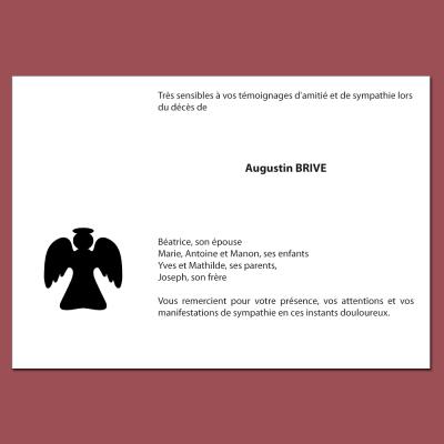 Carte de remerciements imprimée avec la figurine d'un ange gardien