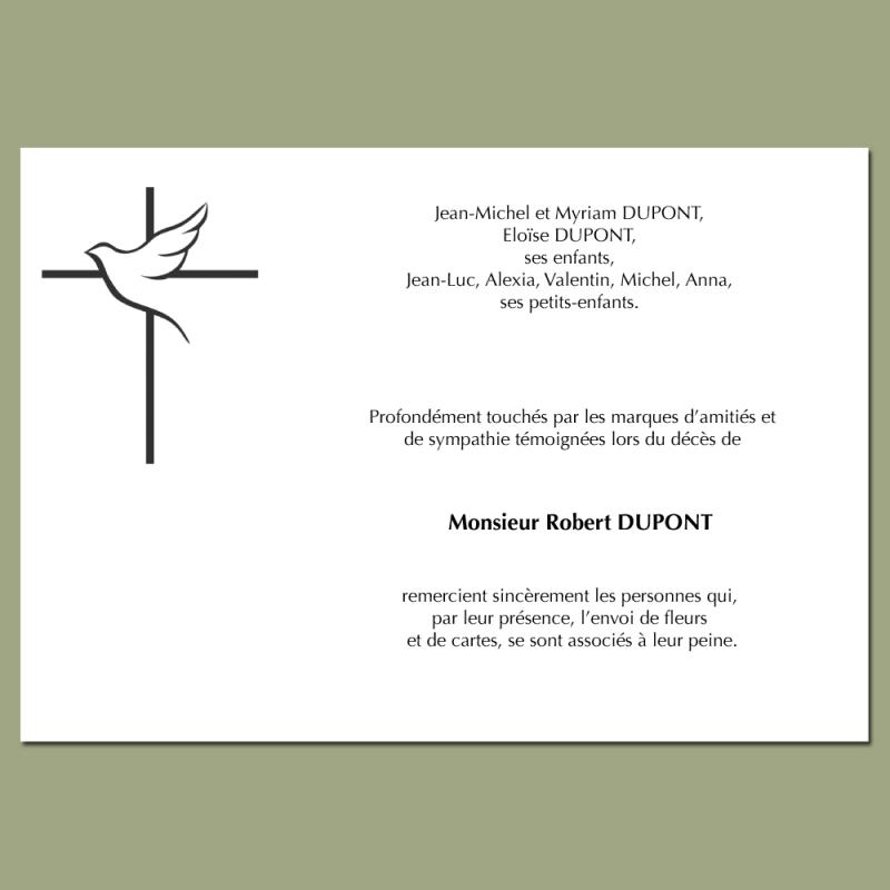 Cartes De Remerciements Deces 150 X 105 Mm Avec Symbole Croix Colombe