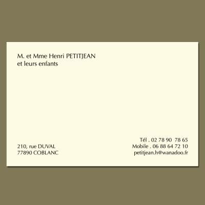 Cartes de visite pour particuliers grand format 82x128 velin crème 400 grs