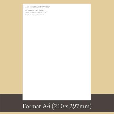Papier à en-tête format A4