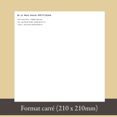 Papier à en-tête format carré